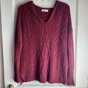 Hollister Sweaters - Hollister Hooded Red V-Neck Knit Sweater